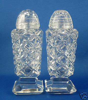 RARE Vintage ASTRA Germany 1950s HAND CUT CRYSTAL Salt & Pepper Shakers Collect