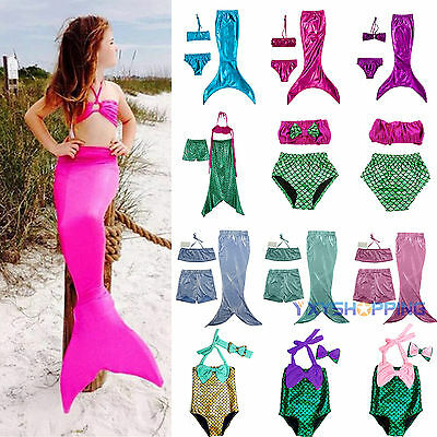 Girl Kids Swimmable Mermaid Tail Bikini Swimsuit Swimming Costume Age 2-10 Years