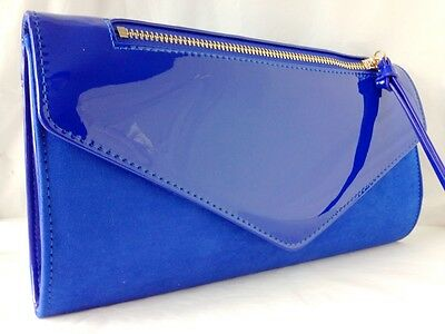 New Royal Blue Faux Suede & Patent Leather Evening Day Clutch Bag Wedding Prom
