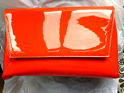 New Orange Faux Patent Leather Evening Day Clutch Bag Wedding Prom Party