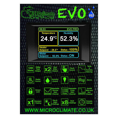 Microclimate Evo Pro Reptile Vivarium Digital Thermostat and Humidity Controller