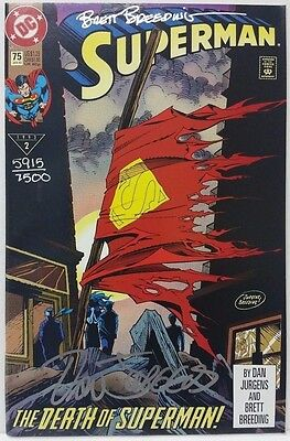 Superman #75 Death of Superman signed set of 2 comics with certificate