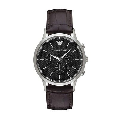 New Emporio Armani Ar2482 Mens Brown Leather Watch - 2 Year Warranty Certificate
