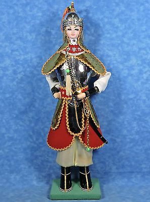 """Traditional 9th C. Tibetan Chinese Guardsman Doll- Full Armour & Sword-17"""" Tall"""
