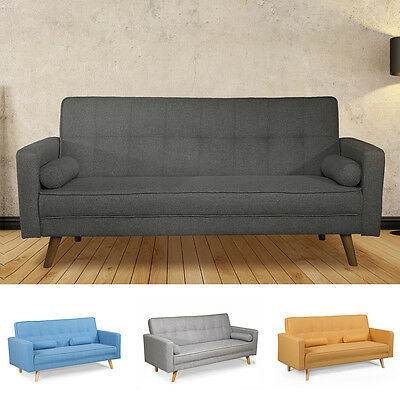 Modern Stylish Grey or Charcoal Fabric 3 Seater Sofa Bed Inc 2 Cushions
