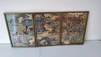 Antique Japanese Printed Triptych
