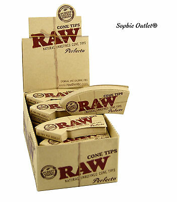 RAW Perfecto Cone Tips Cigarette Smoking Rolling Natural Paper Cone Tip Box
