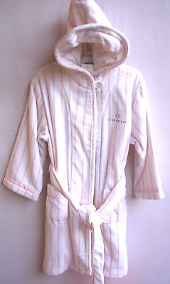 Cisono by SANETTA Girls Bademantel Velour/Frottee weiss/rosa Gr.116 UVP 59,95