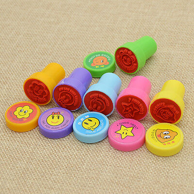6pcs Smile Face Ink Stamp DIY Scrapbook Diary Notebook Kid Childs Gift Cute