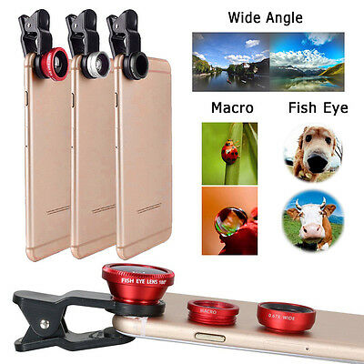 3 in1 Fish Eye Wide Angle Macro Camera Clip-on Lens for iPhone X 8 7 / 6 6s PLUS