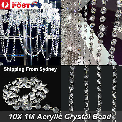 10pcs of 1M Acrylic Crystal Bead Wedding Hanging Drop Chandelier Curtain Wedding