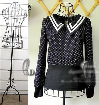Black Female Metal Wire Mannequin On Base Adjustable Height D010