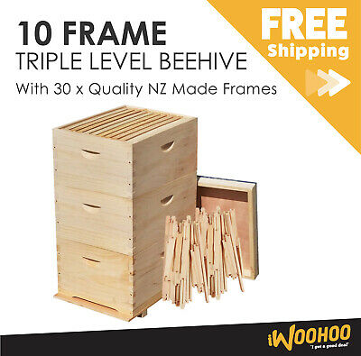 30 Frame Beehive with 30x Frames Three Level Brood Box NZ Pine Timber Wood AU