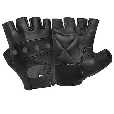 AK Leather Fingerless Mens Weight Training Gloves Black Cycling Wheelchair