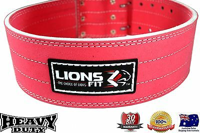 Ladies Pink Genuine Leather Power Belt Back Support Weight Lifting Body Building