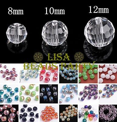 96 Facets Round Crystal Glass Charm Spacer Loose Beads Findings 8mm 10mm 12mm