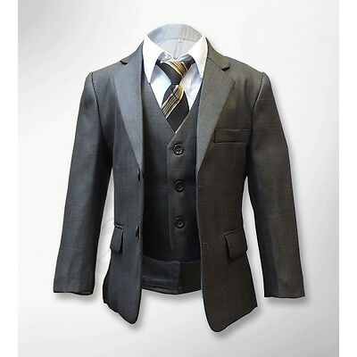 5 PC Formal Light Brown Boys Suit Italian Design Page Boy Wedding Prom Suits