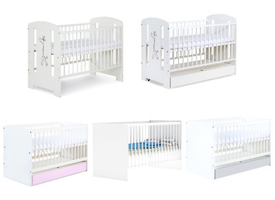 BABY CHILD CLASSIC WOOD WHITE COT BED + FREE FOAM MATTRESS size 120x60