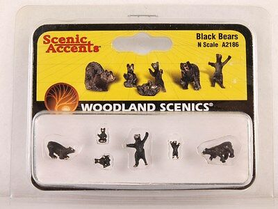Woodland Scenics Accent A2186 N-Scale Scale Black Bears Figures