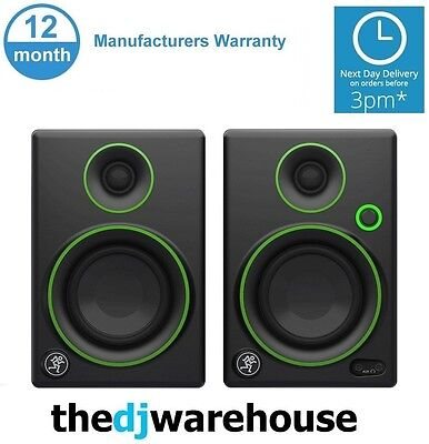 """Pair Mackie CR3 3"""" Inch Active Powered Reference Studio DJ Monitors Speakers 50W"""
