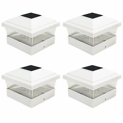 4 x Solar Powered White Led Outdoor Garden Post Deck Cap Square Fence Lights