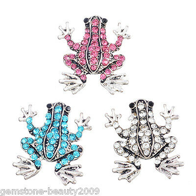 Wholesale HOT Silver Snap Button Fixed Mixed Set Rhinestone Frogs 22.5mmx19.5mm