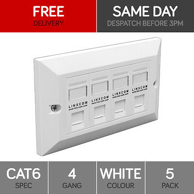 5x QUAD CAT6 DATA WALL OUTLET FACE PLATE - 4 PORT RJ45 ETHERNET NETWORK SOCKET