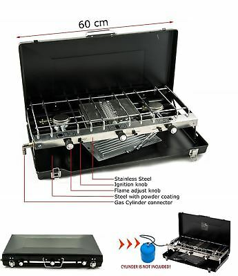 New Portable Heater Double Gas Dual 2 Burner Camping Cooker Fishing Bbq Stove