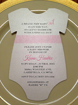 Baby Shower Invitation Onesie Pink Lace For Girl Printed on Metallic Paper