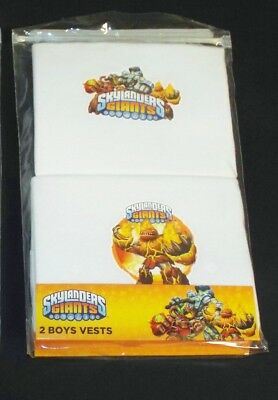 4 Pack Of Brand New Boys Skylanders Giants White Vests Ages 3-4, 5-6 & 7-8 Years