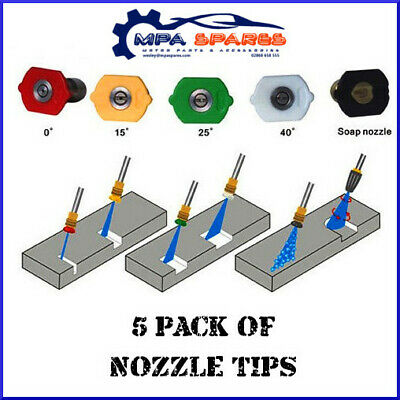 """SET OF 5 PROFESSIONAL Male ¼"""" QUICK RELEASE PRESSURE WASHER NOZZLE TIPS 4000PSI"""
