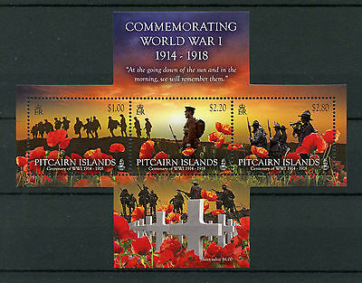 Pitcairn Islands 2014 MNH Commemorating World War I 3v M/S WWI Poppy Stamps