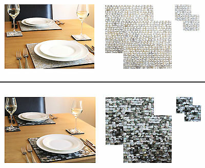 Mother of Pearl 2 x place mats and 2 x coasters set, table mat, placemat set