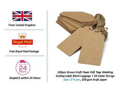 100 Brown Kraft Paper Gift Tags Scallop Label Blank Luggage with FREE 10M STRING