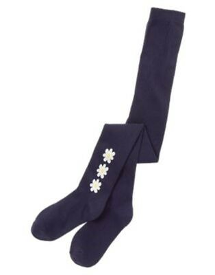 GYMBOREE FLOWER SHOWER NAVY w/ WHITE DAISIES PRINTED TIGHTS 4 5 6 7 8 NWT