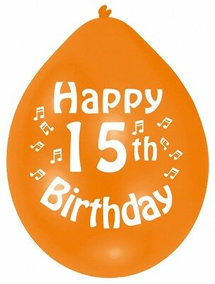 "HAPPY 15th BIRTHDAY 9"" Party Balloons Colour CHOOSE YOUR QUANTITY"