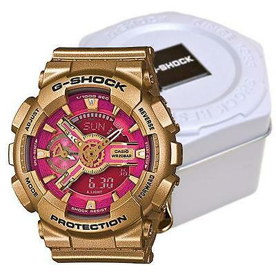 Authentic G-Shock GMAS110GD-4A1 Watch Mens Analog Digital Pink Dial Gold Tone