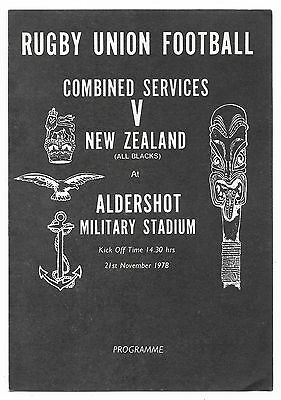 1978 - Combined Services v New Zealand, Touring Match Programme.