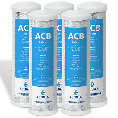 """5 Pack Express Water Carbon Block Coconut Shell Filter Cartridge 10"""" 5 Micron"""