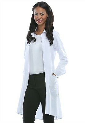 "Cherokee Infinity Antimicrobial Lab Coat with Certainty 40""  1401A (White&Black)"