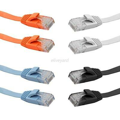 1M/3M/5M/10M FLAT Ethernet CAT6 Network Cable Patch Lead RJ45 for Smart TV/Xbox