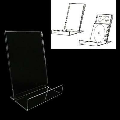 Acrylic CD/DVD Display Stand w/Sign Holder