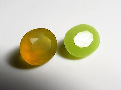 2pc GREEN / YELLOW OPAL faceted OVAL CUT LOOSE GEMSTONE 12ct PAIR