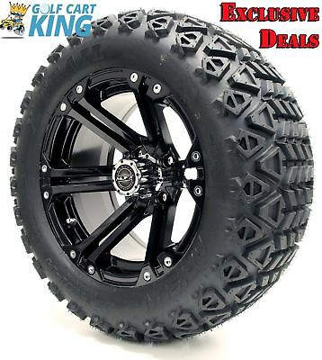 "Golf Cart Wheels and Tires Combo - 14"" Madjax Nitro Black - Set of 4"