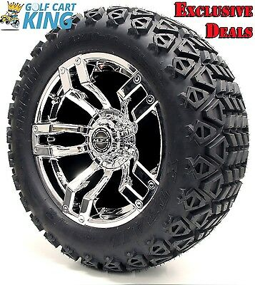 "14"" Madjax VELOCITY Chrome Wheel and 23x10-14 Golf Cart 4-PLY Tire Combo Package"