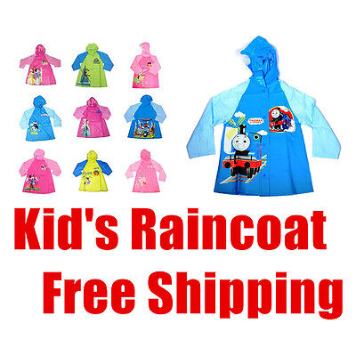 Kids Boys Girls Raincoat Rainproof Rainwear Waterproof Rain Jacket Poncho Mac Sz