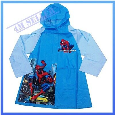Kids Boys Hooded Raincoat Rainproof Rain-wear Poncho Rain Spider-man Gift Sz