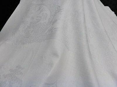 """Antique Silky Smooth Double Irish Linen Damask Tablecloth-Willow Design-84"""""""