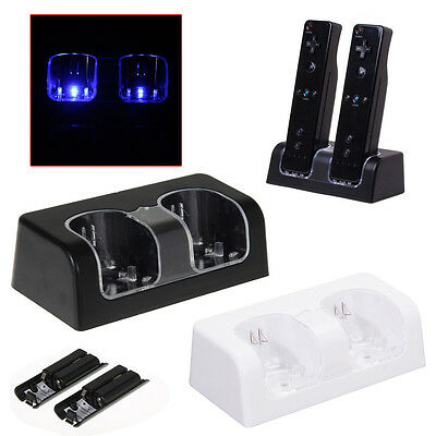 Dual Charger Station Charging Dock with 2 Rechargeable Batteries for Wii Remote