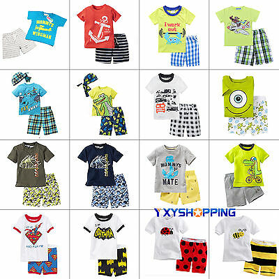 Kids Boys Summer Baby Toddler Tops Shirts + Shorts Pant 2pcs Outfits Set Clothes